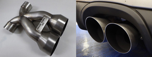 The original exhaust tip design on the Cayman GT4 (and other 981 models) leaves a bit to be desired: The stock tip has a T-junction pipe to the exit, and the dual-layer / original tip barrel diameter does not give the car an aggressive look that fits the car's performance and sound.  We designed our tips with an X-style merge instead of a T-intersection, and opted for the maximum sized, single-layer tubing to make the tips as aggressive as possible. We also slash cut the ends to match the OEM angle and length. Comes with a pair of new clamps (stock ones are welded to the factory tips). This tip was designed and manufactured from USA 304 stainless steel, sourced and assembled here in Northern California,  Stock tip barrel size: 91mm OD / 70mm ID Our tip barrel size: 97mm OD / 93mm ID  Stock weight: 5.6 pounds Our weight: 4.3 pounds (with clamps)   Two color choices are available. Satin black with a hot ceramic coating, or in raw stainless steel silver, hand-brushed barrels and a black painted interior. For satin black it please allow an additional two weeks for the coating. Installation is a reversible bolt-on that takes under an hour, and does not require any cutting or welding. Purchase includes new stainless steel exhaust clamps for the installation.  Black Ceramic Available ($100)