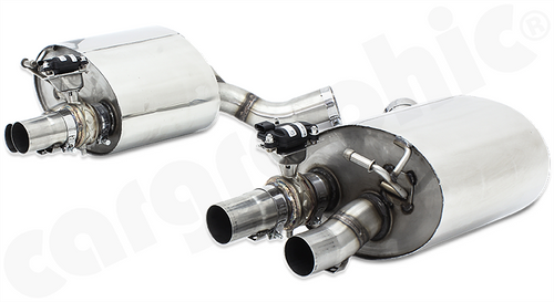 """CARGRAPHIC Exhaust Systems with integrated exhaust flaps for all Porsche Panamera 971 with petrol engines. To be used with electronic actuators and controlled by, either, build-in factory on-board control unit or with the New Advanced CARGRAPHIC Flap Control Unit - with even more control features.  CARGRAPHIC Sport Rear Silencer Set with integrated electrical exhaust valves  Fully made from T-304L lightweight stainless steel for  - Porsche 971 Panamera 2 / 4 / 4 e-Hybrid   Models without PSE/OEM sport tailpipes:   require CARGRAPHIC tailpipes - Porsche 971 Panamera 2 / 4 / 4 e-Hybrid   Models with PSE/OEM sport tailpipes:   use OEM or CARGRAPHIC tailpipes - Porsche 971 Panamera 4S / Turbo / Turbo S e-Hybrid   use OEM or CARGRAPHIC tailpipes  ALL NEW DEEP TONE  SOUND / SUPER SOUND Version - switchable dual mode:  Valves closed: quiet sporty increased SOUND note, pleasant cruising mode  Valves open: aggressive enhanced SUPER SOUND note, sharper amplified freer flowing mode   NO DRONE OR RESONATION  Features: - Absorptive silencer design - High performance components - Integrated electrical exhaust valves - Reduced backpressure - Reduced temperature - Maximized performance - Enhanced sound - Weight reduction - Prepared for easy installation and perfect adjustment   PERFORMANCE +7KW(10PS) more power and +10Nm additional torque  Contains: - CARGRAPHIC Rear Silencer Set with integrated   electrical exhaust valves  Part No: CARP71TETFLAP  Attention: All Porsche Panamera 971 are fitted with a valve control, unit which can operate the electrical valves of a CARGRAPHIC rear silencer set.  Panamera models equipped with Porsche Sport Exhaust (PSE) are able to control the valves manually by using the onboard """"Sport Exhaust"""" button.  Panamera models without PSE require our additional available performance flap control system to manually control the valves. (Price Subject to Euro/Dollar Exchange Rate)"""