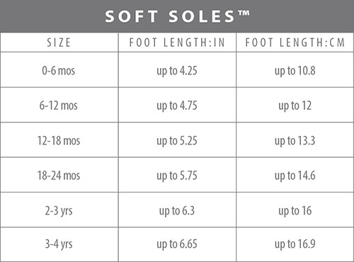 Soft soles size chart
