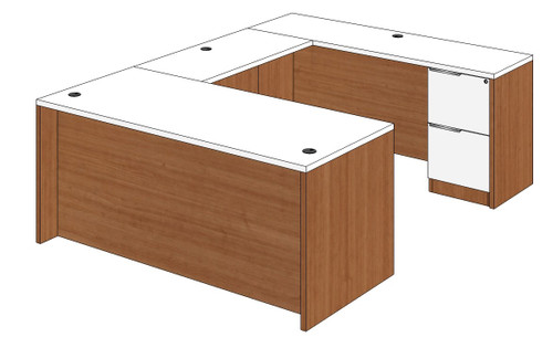 Straight Front U-Shape Desk with Right Bridge