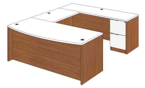 Bow Front U-Shaped Desk with Right Bridge