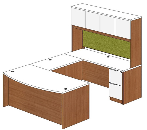 Bow Front U-Shape Desk with Laminate Door Hutch and Right Bridge