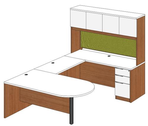 Bullet Peninsula U-Shape Desk with Laminate Door Hutch and Right Bridge