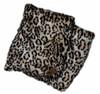 Snow Leopard Ultra Faux Fur Blanket With Black Fleece Backing