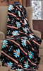 Native Black and Turquoise Cashmere Fleece Blanket by Phyllis Dobbs