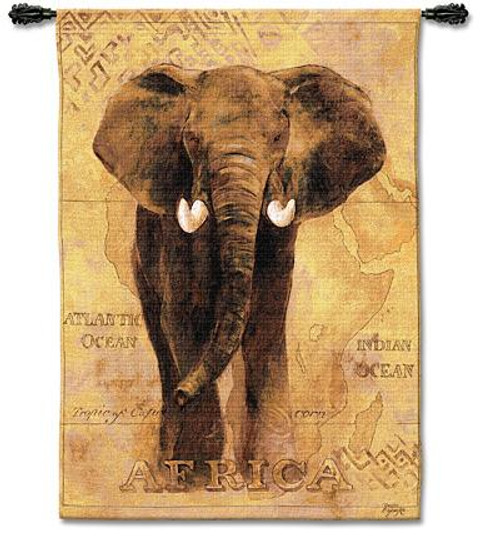 African Voyage I Elephant Tapestry Wall Hanging PC-1599-WH