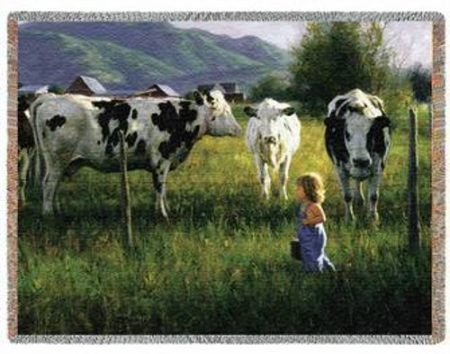 Anniken and the Cows Woven Afghan