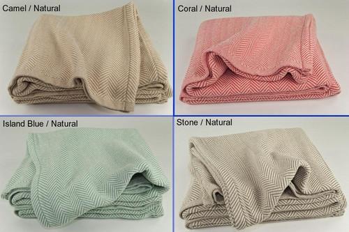 Queen Herringbone Cotton Blanket with Natural Background