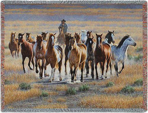 Bringing Em In Horse Tapestry Throw PC-5575-T