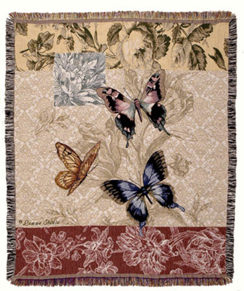 Butterfly Floral Tapestry Throw TPM903