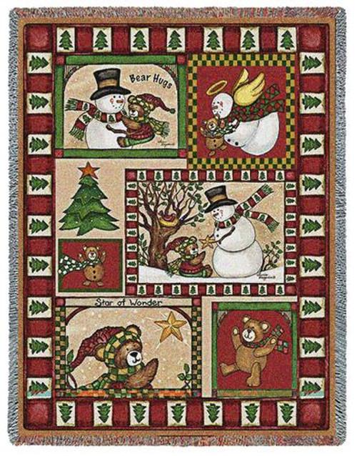 Christmas Bear Patchwork Tapestry Throw Blanket