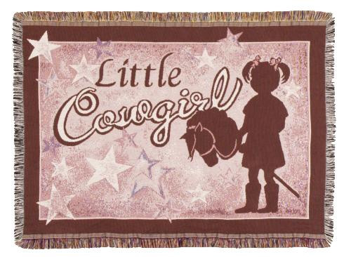 Little Cowgirl Tapestry Throw