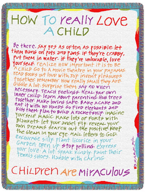 How To Really Love A Child 3 Layer Woven Throw