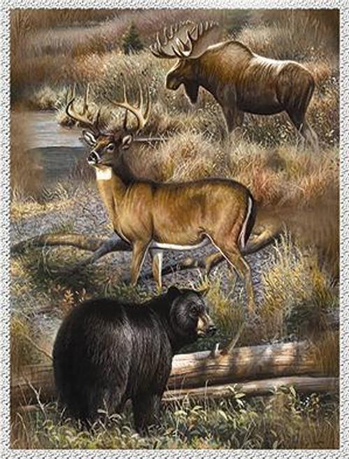 Hunters Treasure Moose Bear Deer Faux Sherpa Throw