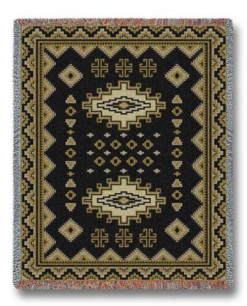 Southwest Sampler Black and Gold (Chama) Tapestry Throw Blanket