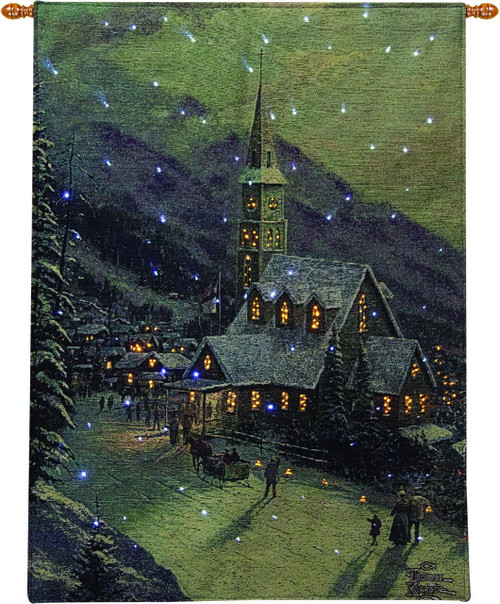 Moonlit Village Fiber Optic Lighted Wall Hanging with Remote