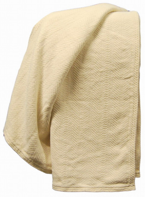 Organic Cotton Chenille Herringbone Throw Blanket Natural or Buffalo Color