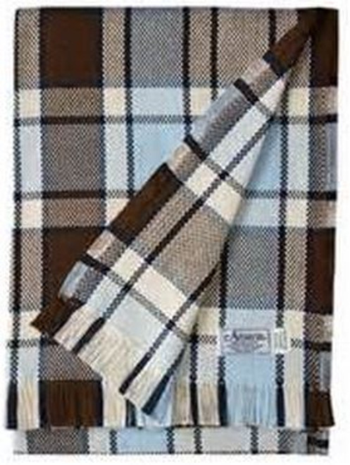 Amana Brown Navy Natural and Blue Plaid Cotton Throw Blanket