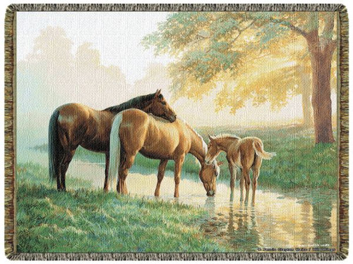 Spring Morning Horses Tapestry Throw L10153