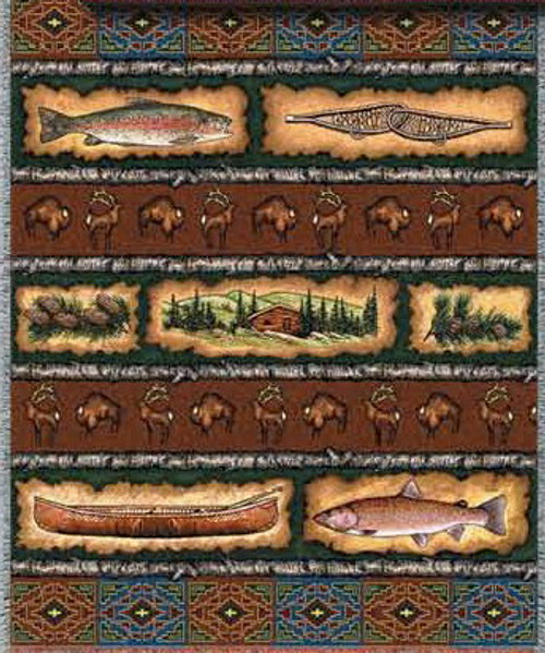 Fish Stripe Lodge Tapestry Throw