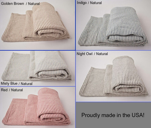 Full Ticking Stripe Cotton Blanket with Natural Background