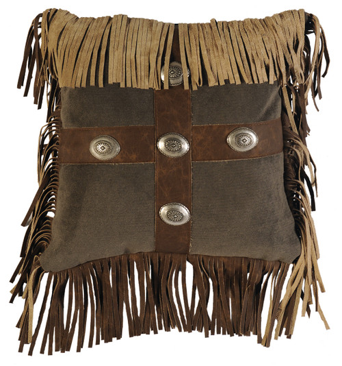 Mustang Canyon Fabric and Leather Square Pillow