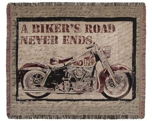 A Biker's Road Tapestry Throw