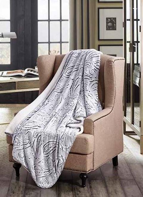 Snow Paisley Faux Fur Luxury Plush Sherpa Throw Blanket