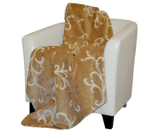 Cashew Swirl/Cashew #903 60x70 Inch Throw Blanket