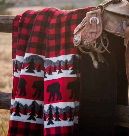 Bear Plaid Border/Black #620 60x70 Inch Throw Blanket