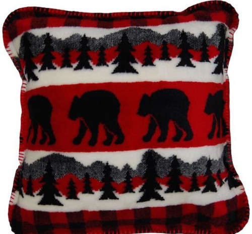 Bear Plaid Border/Black #620 18x18 Inch Throw Pillow