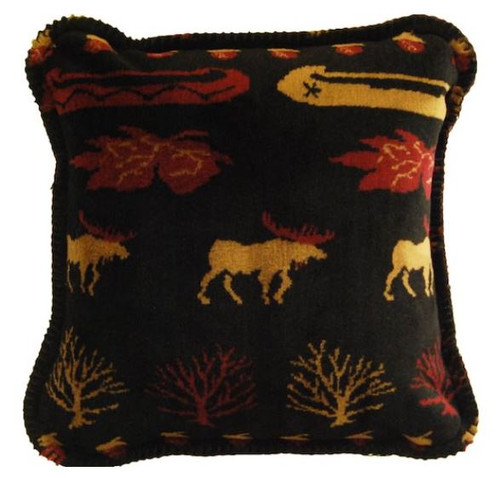 Black Denali Lake/Merlot #066 18x18 Inch Throw Pillow