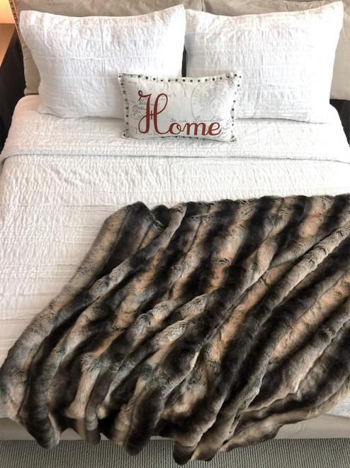 Nicole Gray and Black Faux Chinchilla Blanket