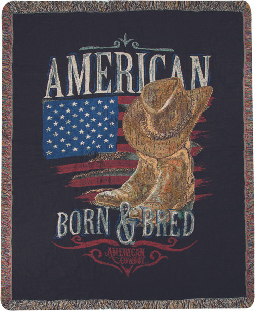 American Cowboy Throw Blanket by Manual Woodworkers and Weavers (50x60 Inches)