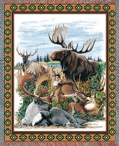 Antlered Animals Throw Blanket by Pure Country Weavers (53x70 Inches)