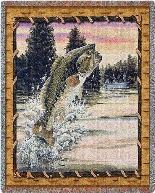Bass Attack Throw Blanket by Pure Country Weavers (54x70 Inches)
