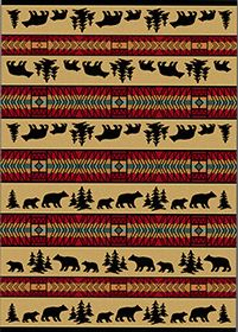 "Bear Adventure/Red 4x5 Rug by American Dakota (3'10"" x 5'4"")"