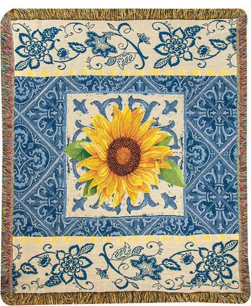 Indigo Sunflower Cotton Tapestry Throw