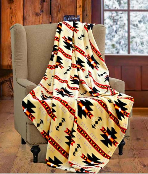 Native Beige/Yellow Cashmere Fleece Blanket