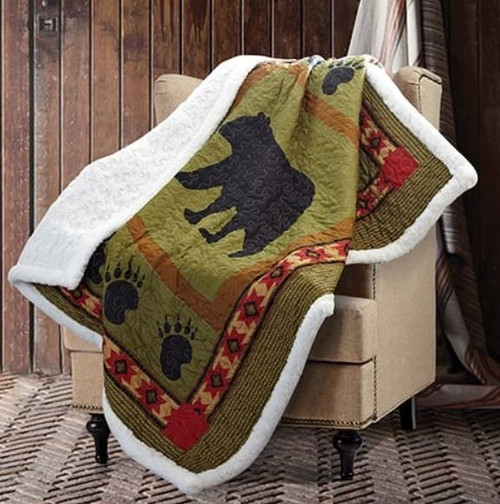 Bear and Paw Patchwork Quilt and Sherpa Throw by Phyllis Dobbs