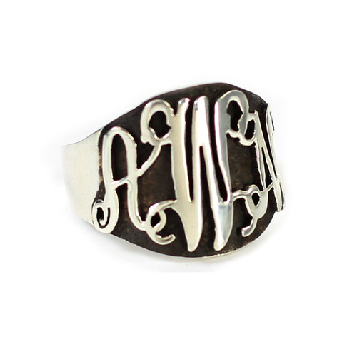 Personalized Oxidized Silver Script Ring