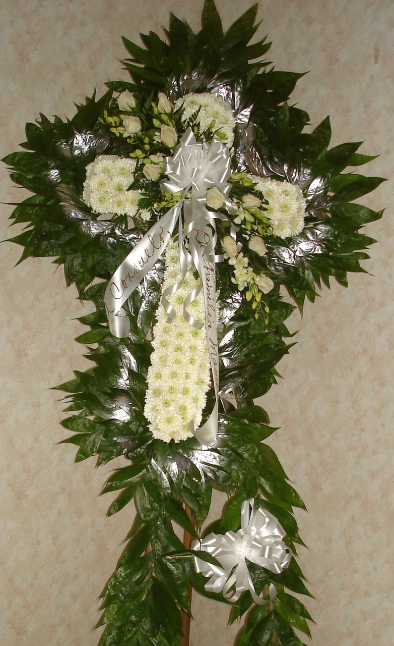 Funeral Cross With Roses Orchids Flowers By Oriental