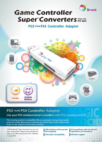 PS3 to PS4 Controller Converter/Adapter P4-WH [BROOK]