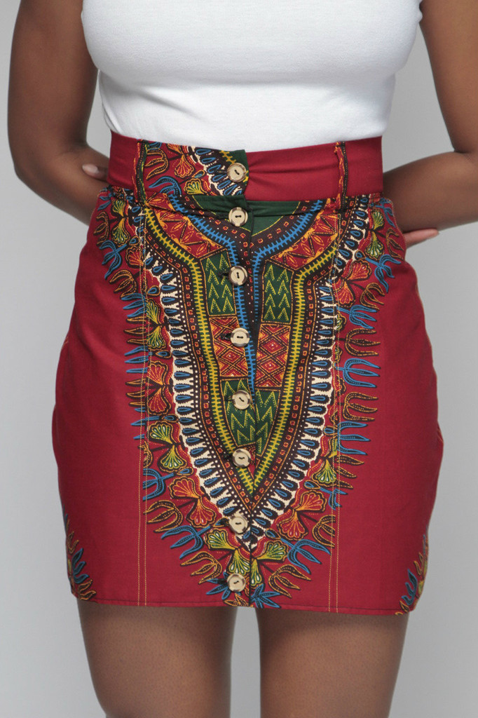 Dashiki Button Skirt (Wine)