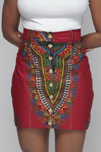 Dashiki Button Skirt (Wine)