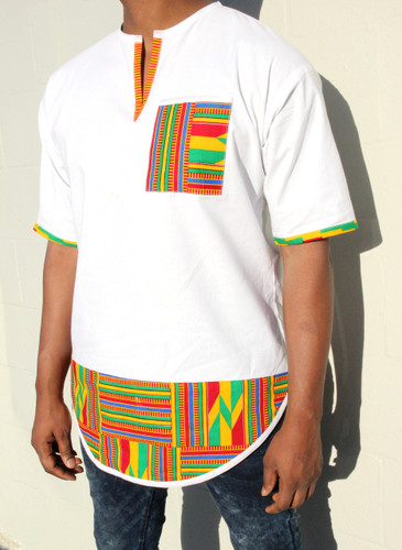Kente Classic White Panel Top