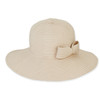 NATURAL, FOLDABLE HAT W/BOW TR
