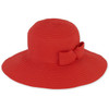 RED, FOLDABLE HAT W/BOW TRIM