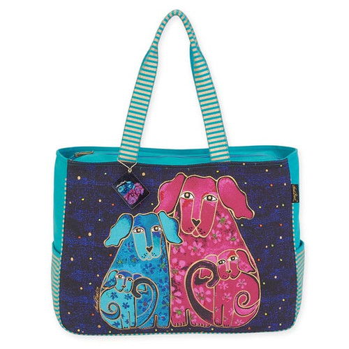 """BLOSSOMING PUPS OVERSIZED TOTE 