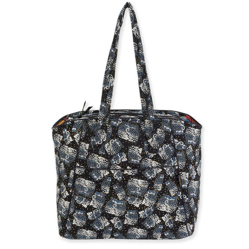 "Polka Dot Cats Shoulder Tote |  15""x 8.5""x 14.5"""